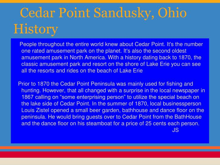 Cedar Point Sandusky, Ohio History