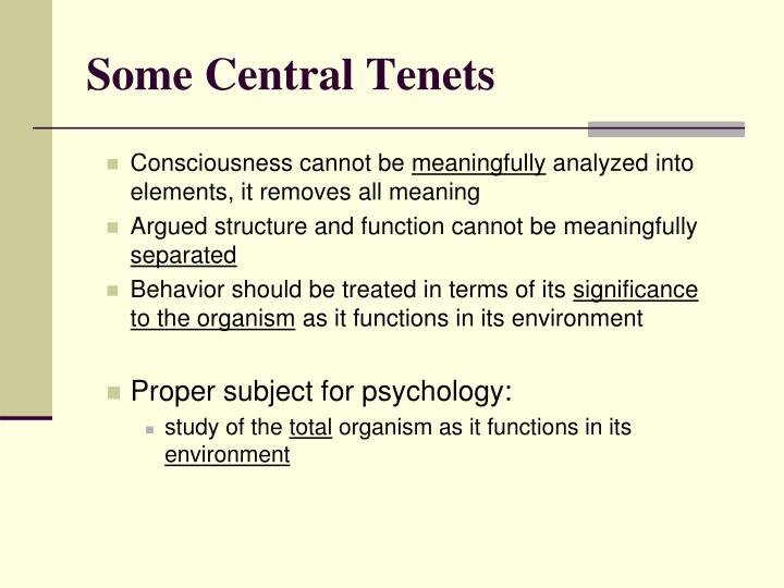 Some Central Tenets