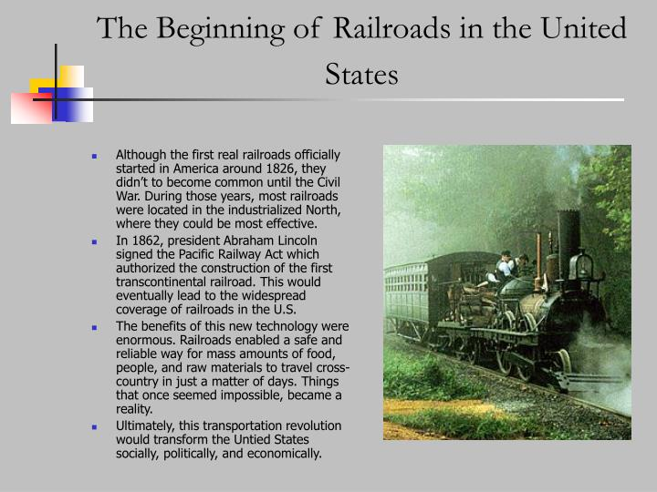 The beginning of railroads in the united states