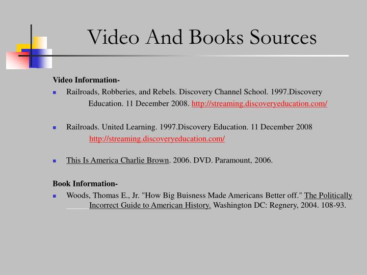 Video And Books Sources