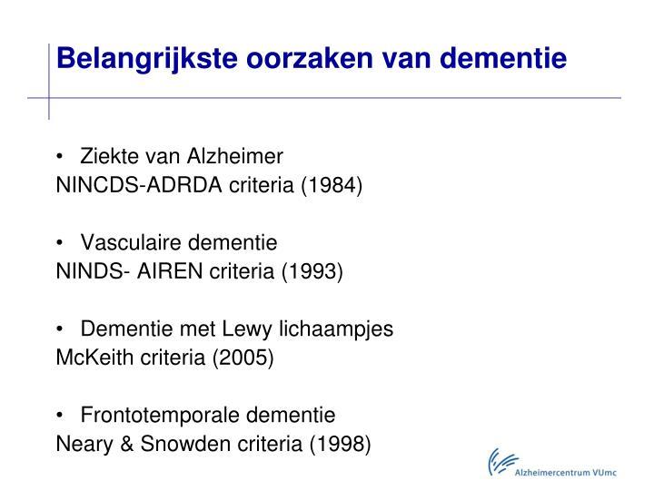 Belangrijkste oorzaken van dementie