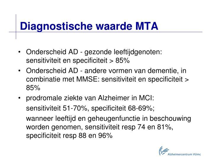 Diagnostische waarde MTA