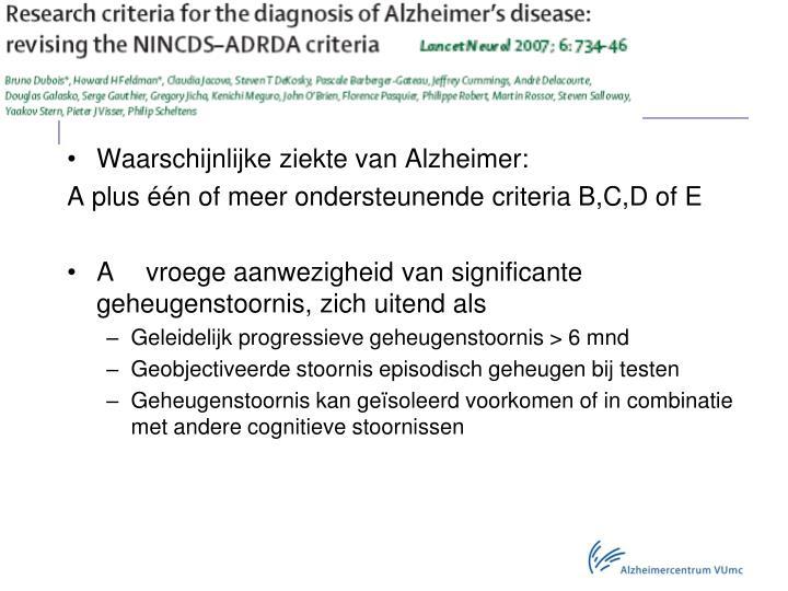 Waarschijnlijke ziekte van Alzheimer:
