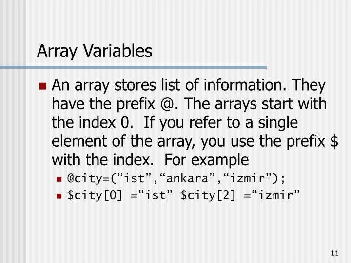 Array Variables