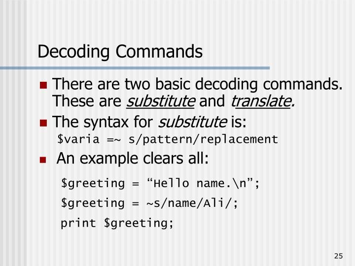 Decoding Commands