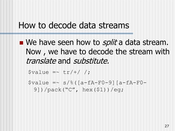 How to decode data streams