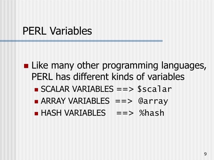 PERL Variables