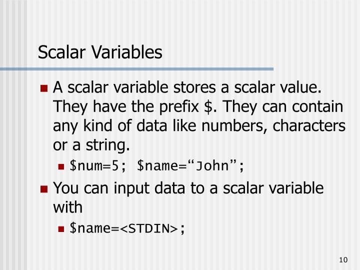 Scalar Variables