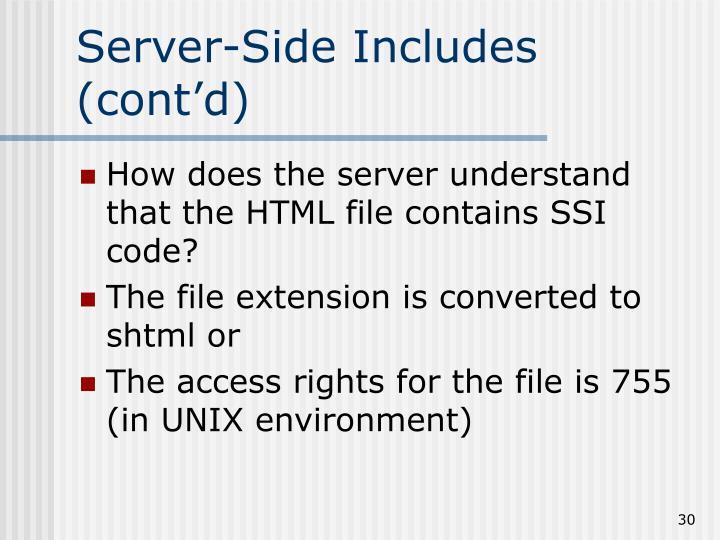 Server-Side Includes (cont'd)
