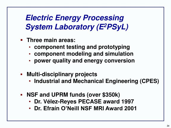 Electric Energy Processing