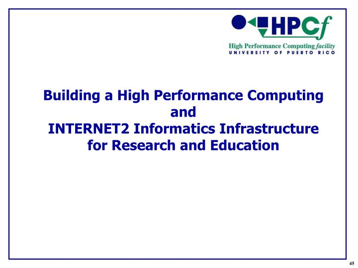Building a High Performance Computing and