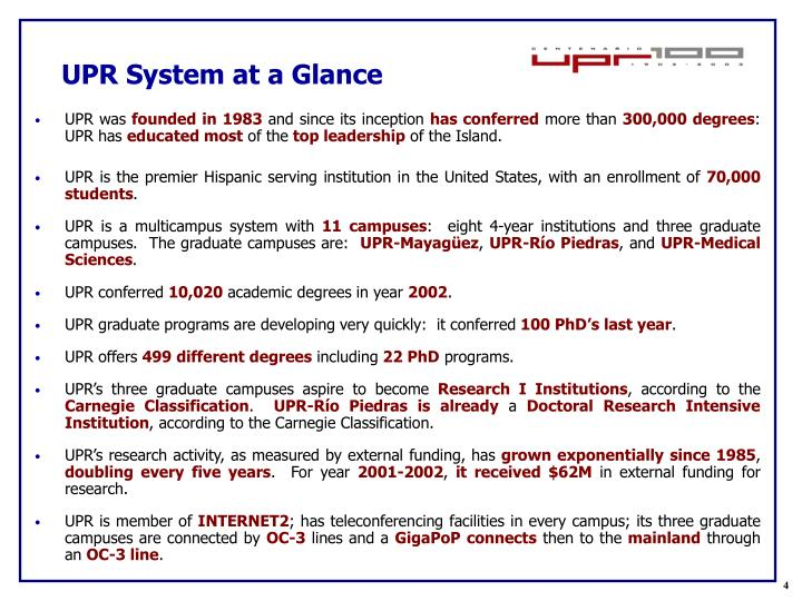 UPR System at a Glance