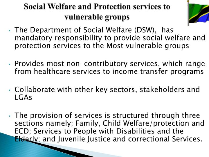 Social Welfare and Protection services to vulnerable groups