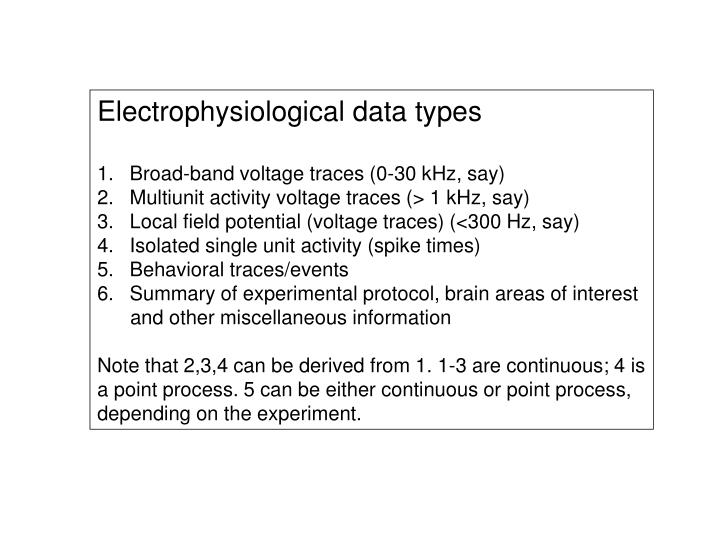 Electrophysiological data types