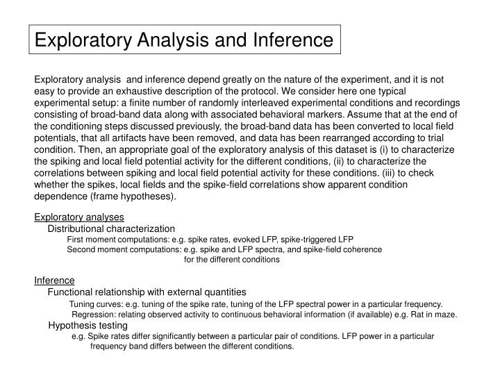 Exploratory Analysis and Inference