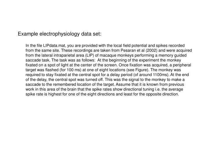 Example electrophysiology data set: