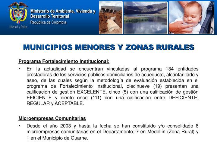 MUNICIPIOS MENORES Y ZONAS RURALES