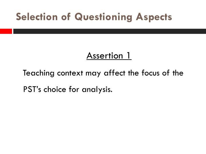 Selection of Questioning Aspects