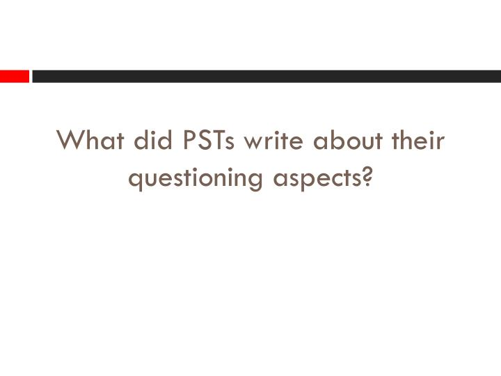 What did PSTs write about their questioning aspects?