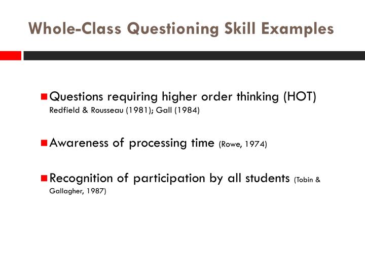 Whole-Class Questioning Skill Examples