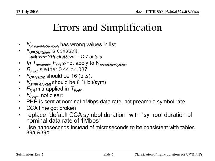 Errors and Simplification