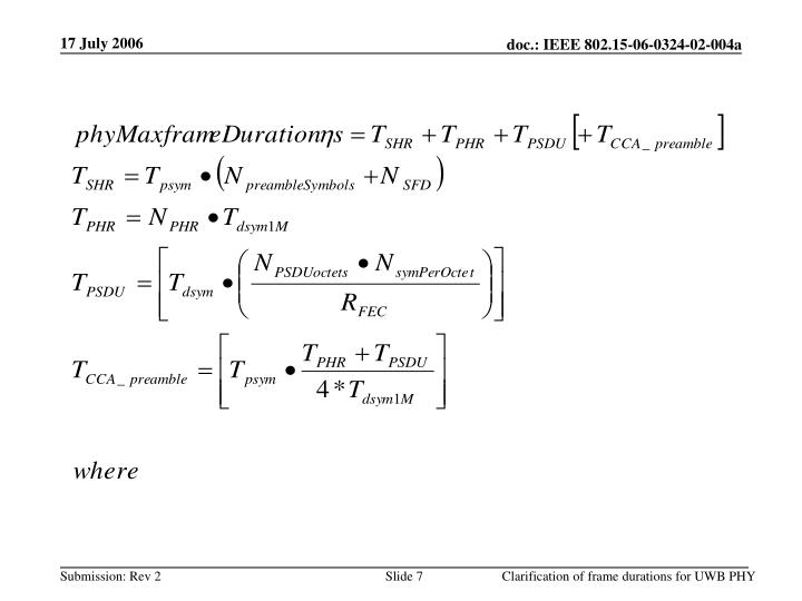 Clarification of frame durations for UWB PHY