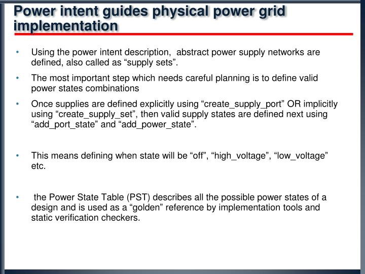 Power intent guides physical power grid implementation