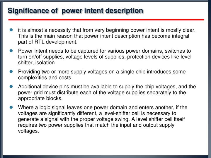 Significance of  power intent description