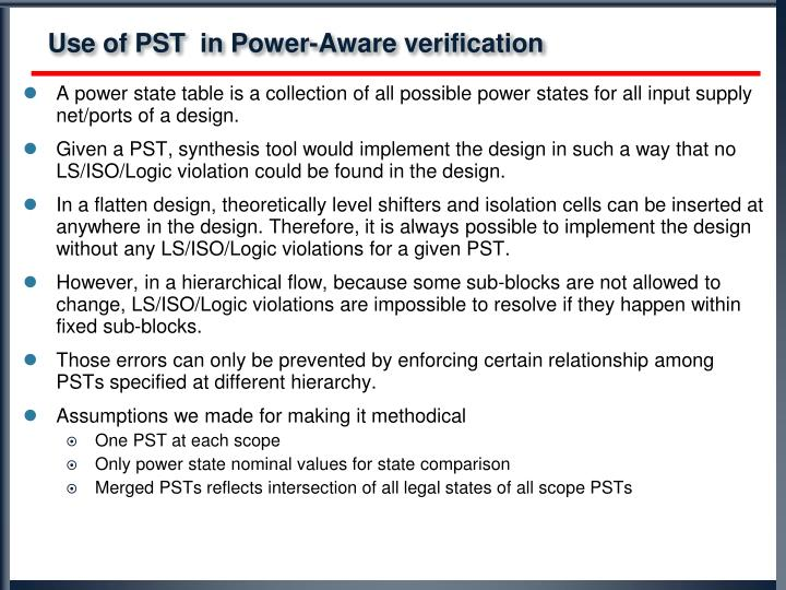 Use of PST  in Power-Aware verification