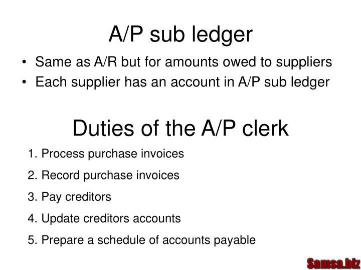 A/P sub ledger