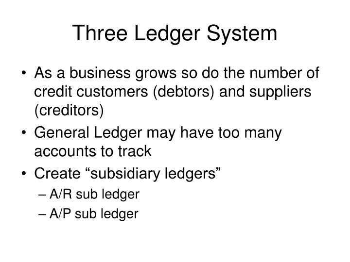 Three ledger system