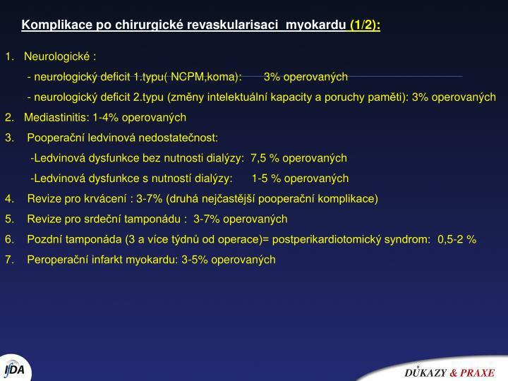 Komplikace po chirurgické revaskularisaci  myokardu