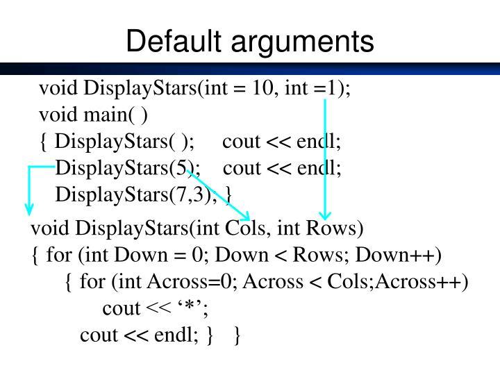 Default arguments