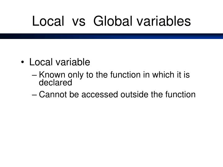 Local vs global variables