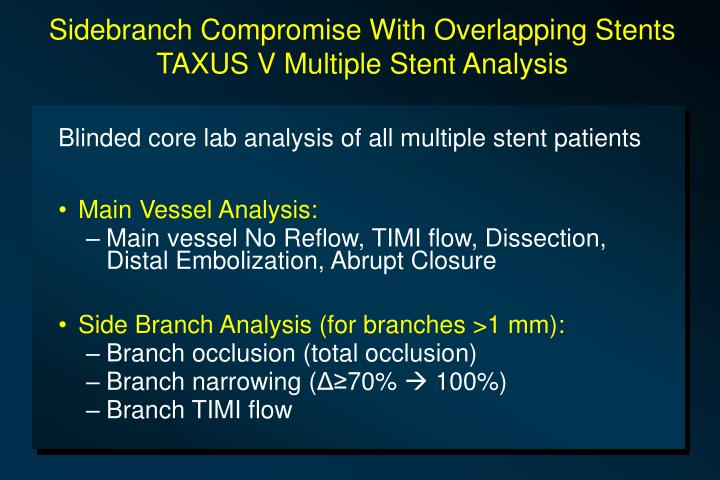 Sidebranch Compromise With Overlapping Stents