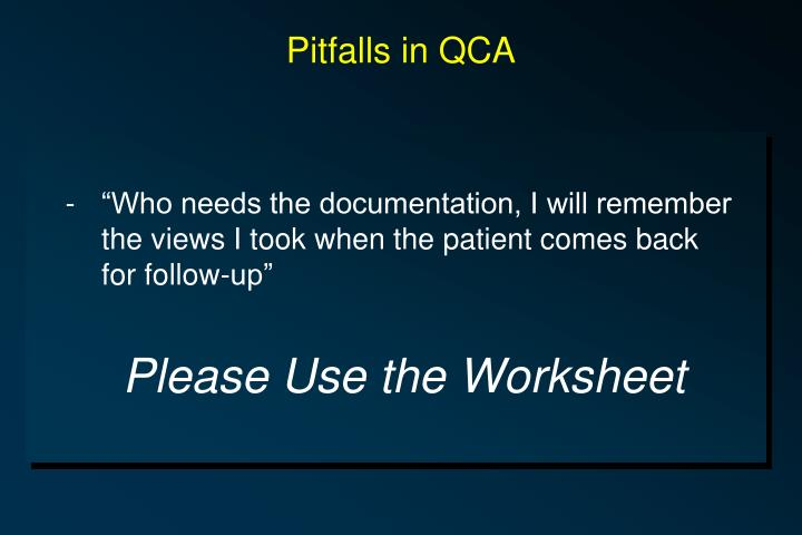 Pitfalls in QCA