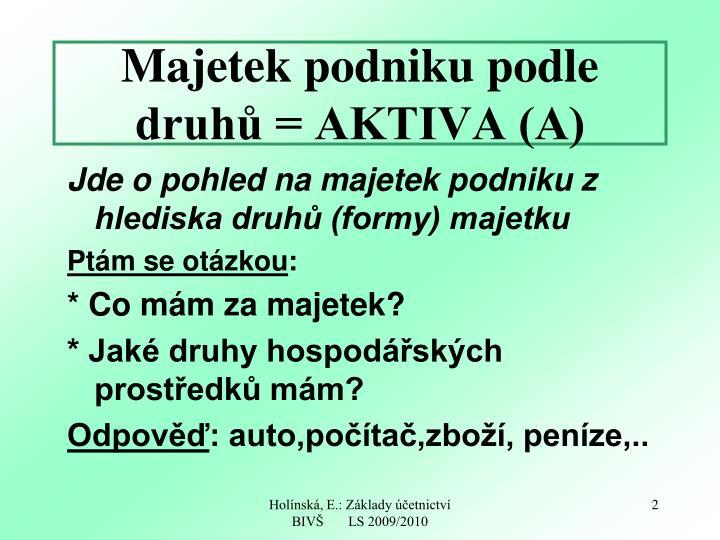Majetek podniku podle druhů = AKTIVA (A)