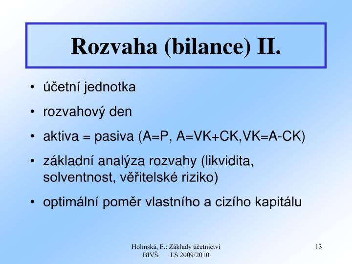 Rozvaha (bilance) II.
