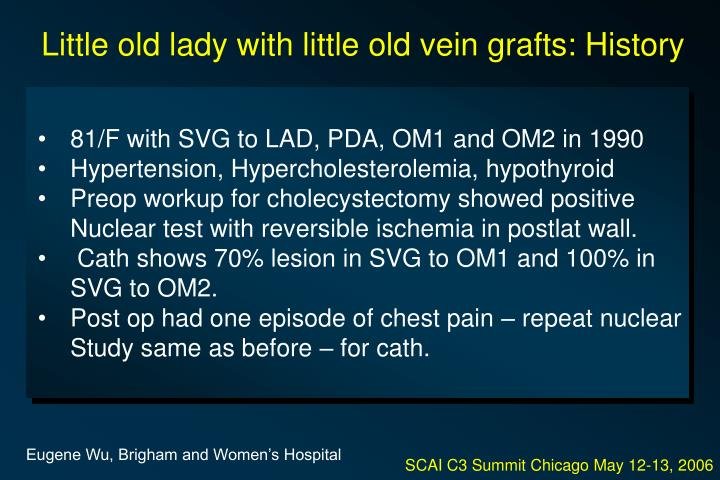 Little old lady with little old vein grafts: History
