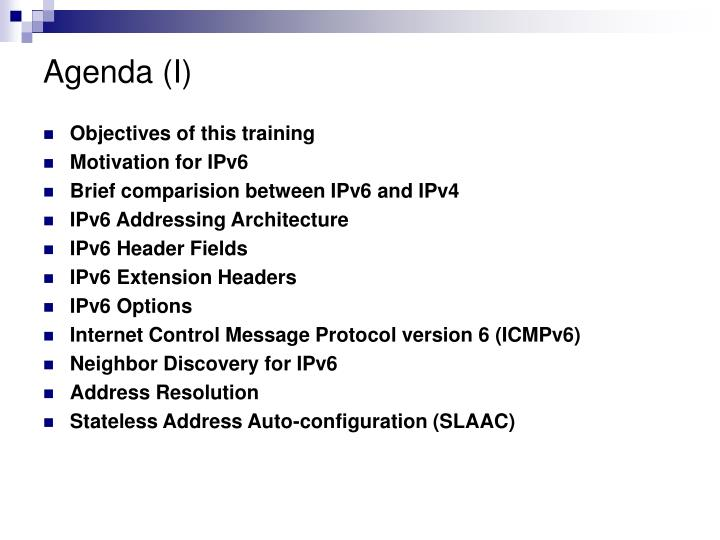 Agenda (I)