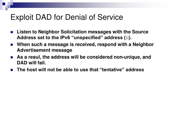 Exploit DAD for Denial of Service