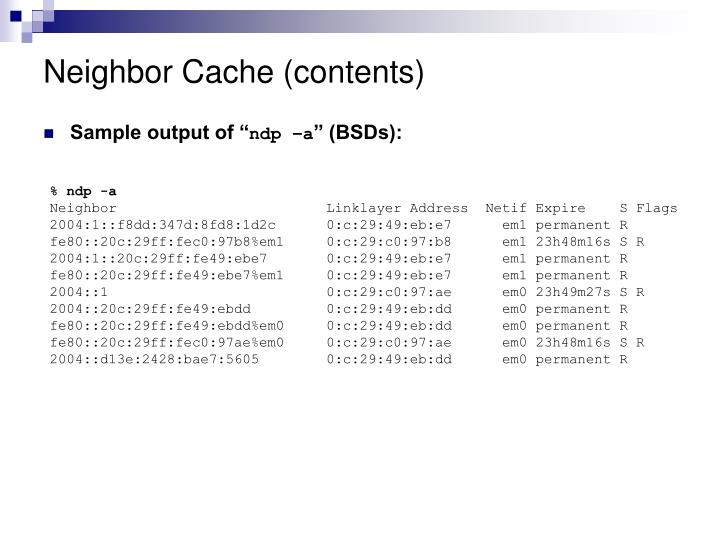 Neighbor Cache (contents)