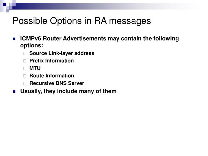 Possible Options in RA messages