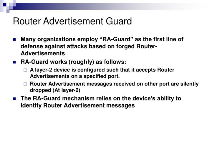 Router Advertisement Guard