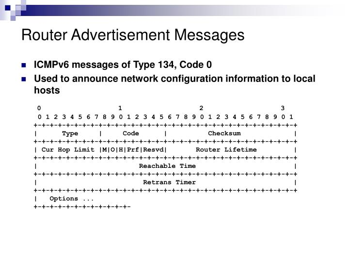 Router Advertisement Messages