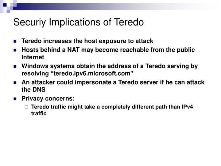 Securiy Implications of Teredo