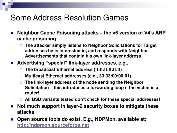 Some Address Resolution Games