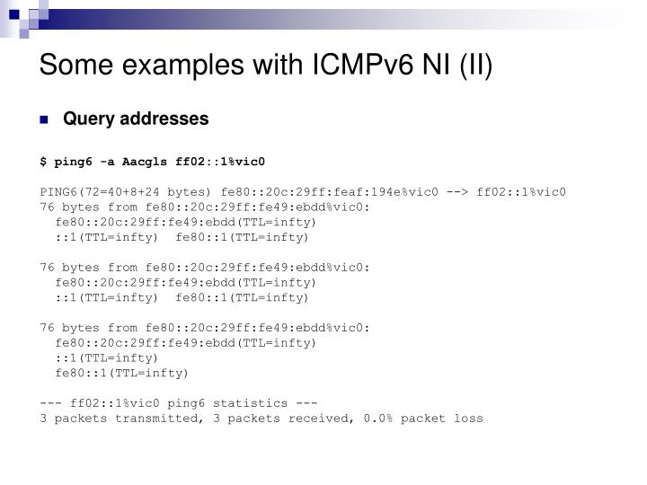 Some examples with ICMPv6 NI (II)