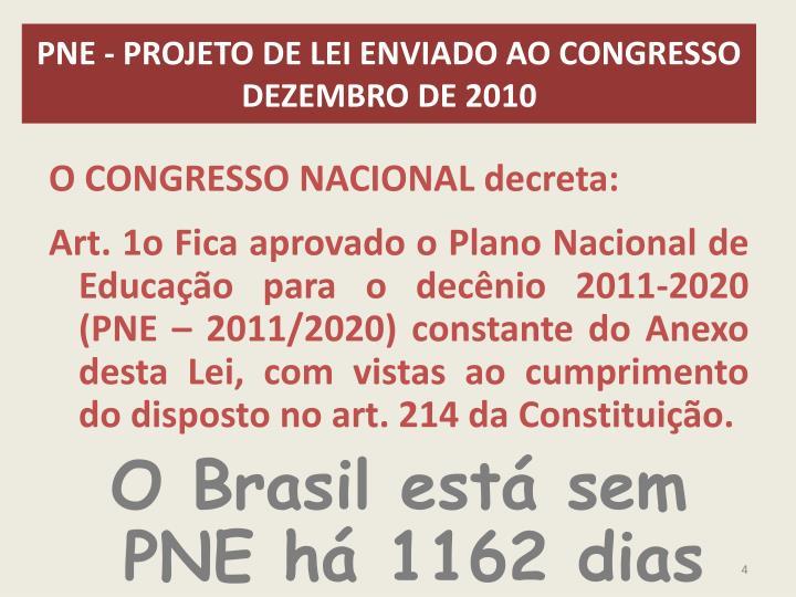 PNE - PROJETO DE LEI ENVIADO AO CONGRESSO