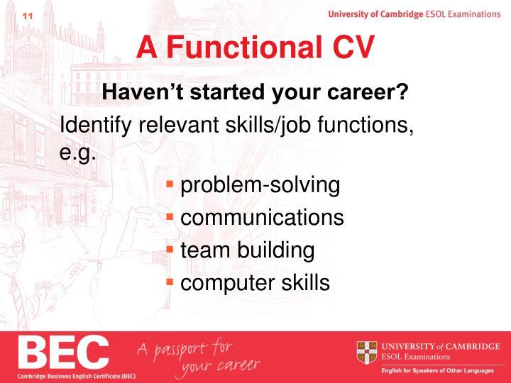 A Functional CV